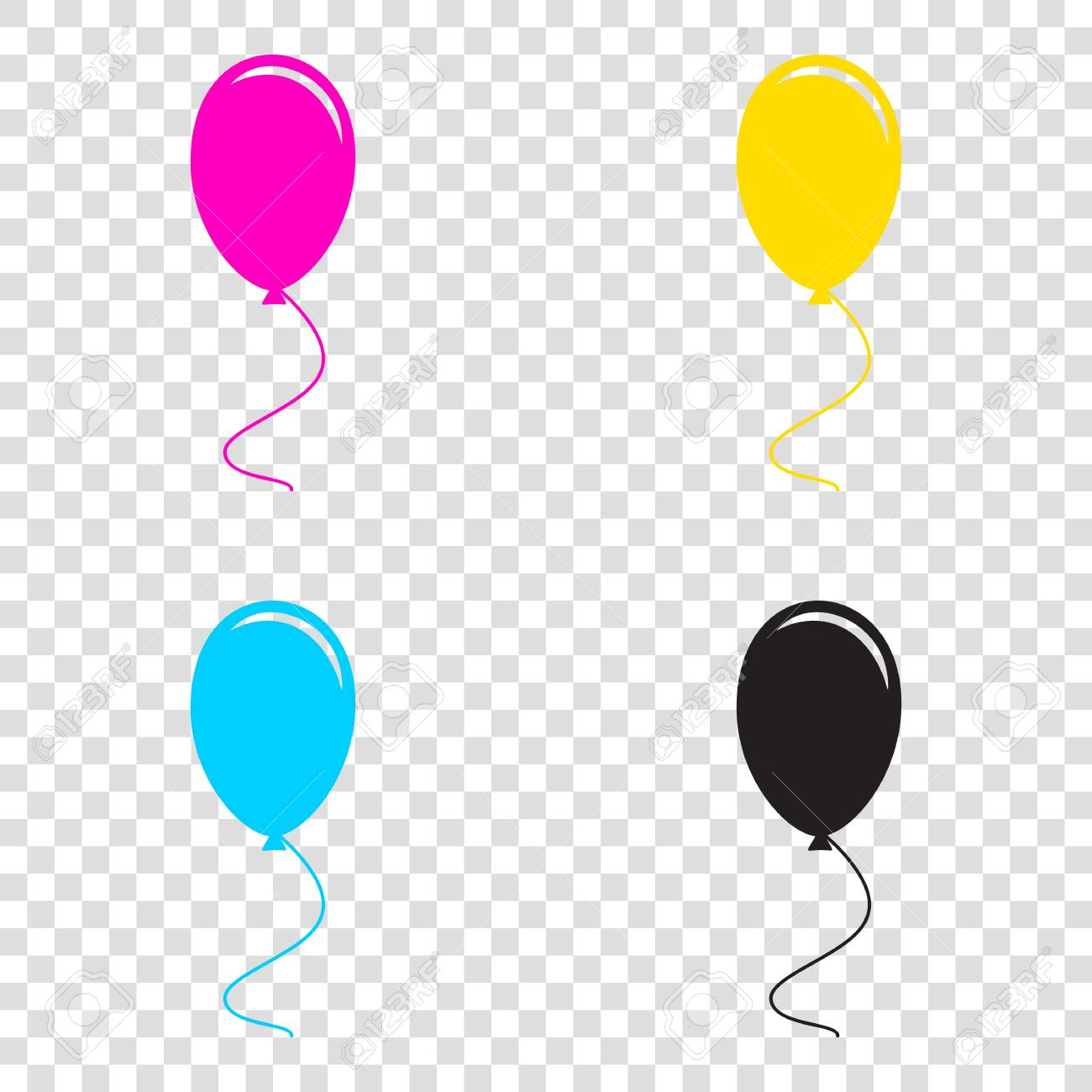 Balloon sign illustration  CMYK icons on transparent background