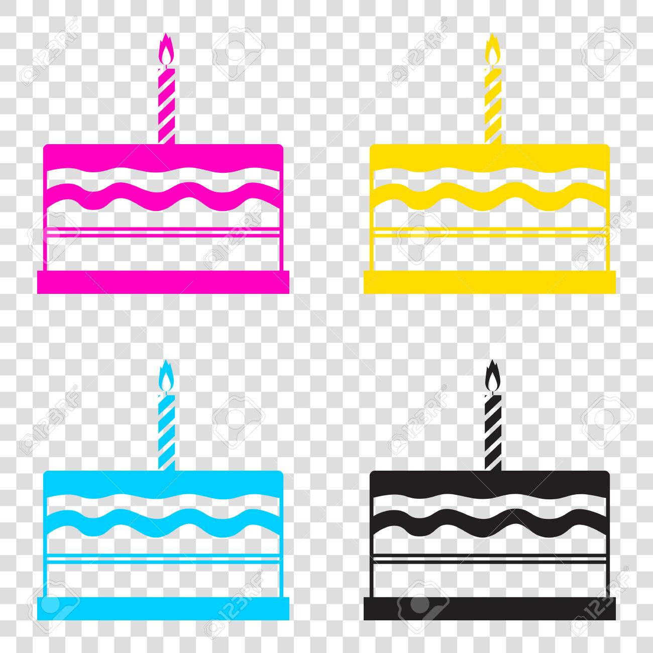 Birthday Cake Sign CMYK Icons On Transparent Background Cyan Magenta Yellow
