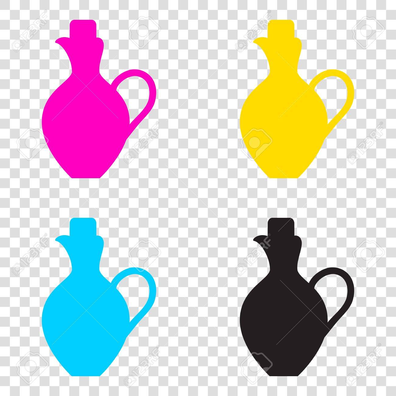 cbecfd51fc25 Amphora sign illustration. CMYK icons on transparent background. Cyan