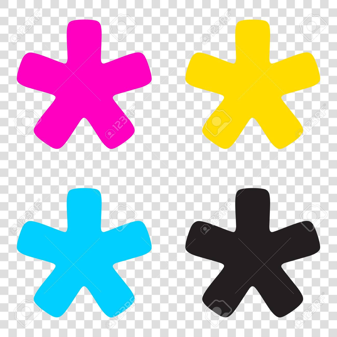 be603c453694 Asterisk Star Sign. CMYK Icons On Transparent Background. Cyan ...