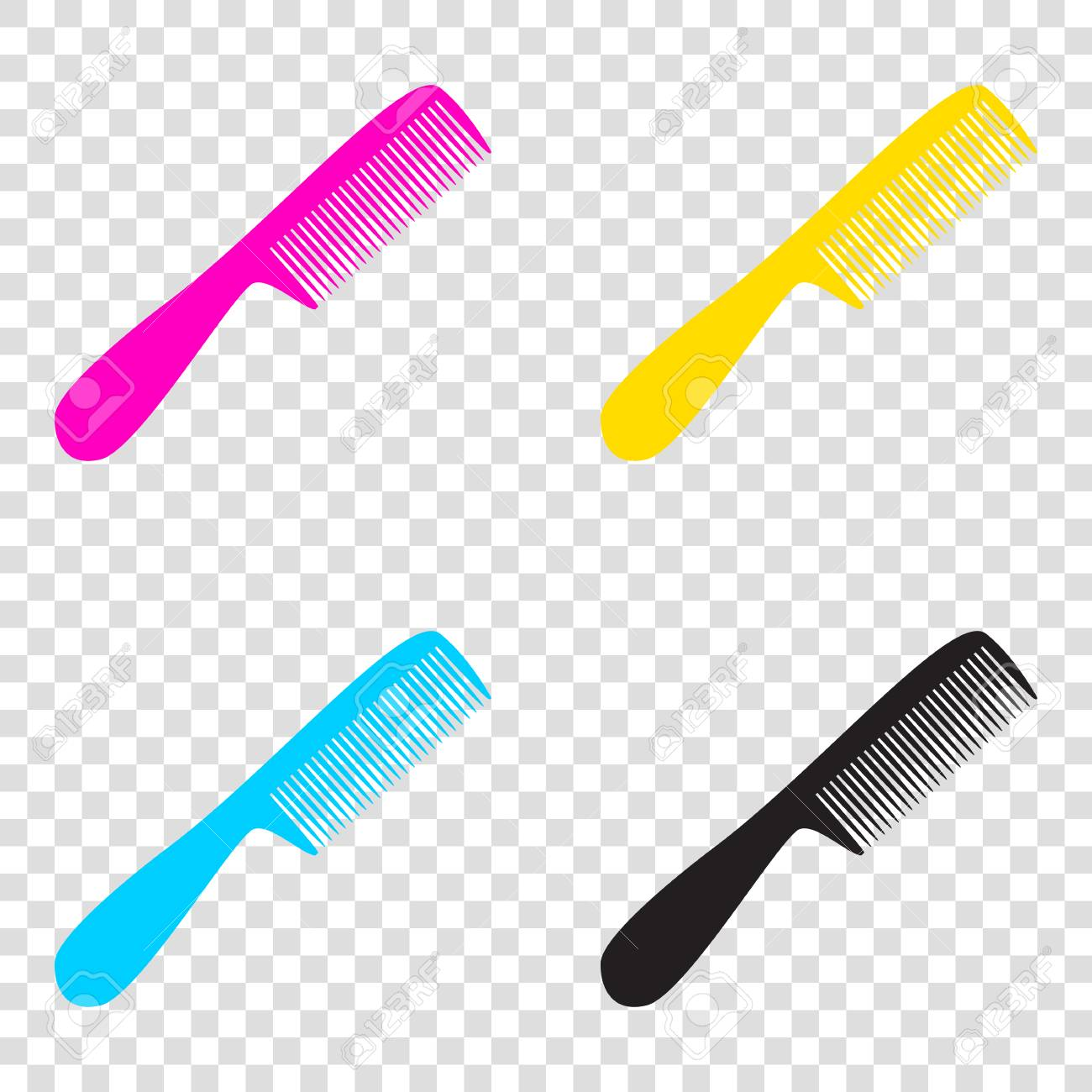 Comb simple sign  CMYK icons on transparent background  Cyan,