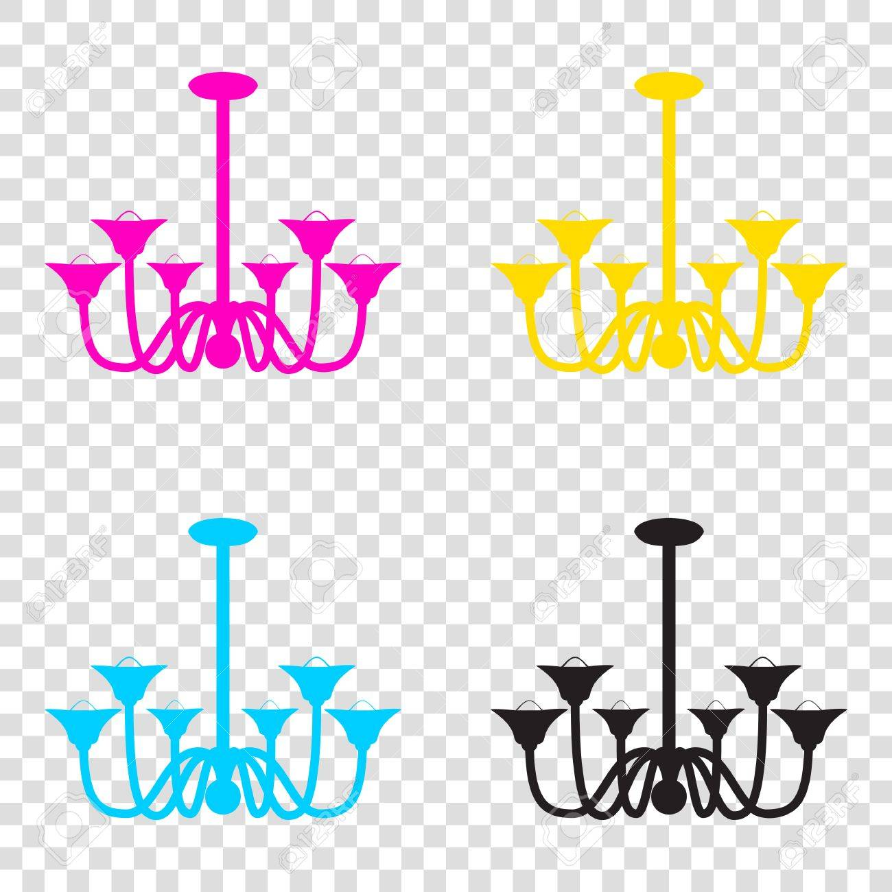 Chandelier simple sign  CMYK icons on transparent background