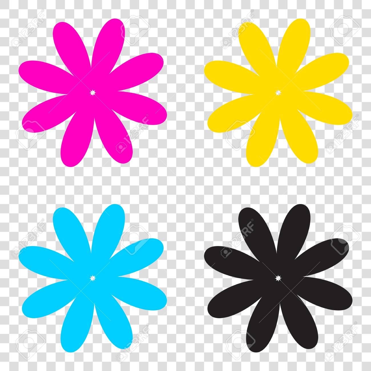 花の記号の図。透明な背景に cmyk アイコン。シアン、マゼンタ、黄色