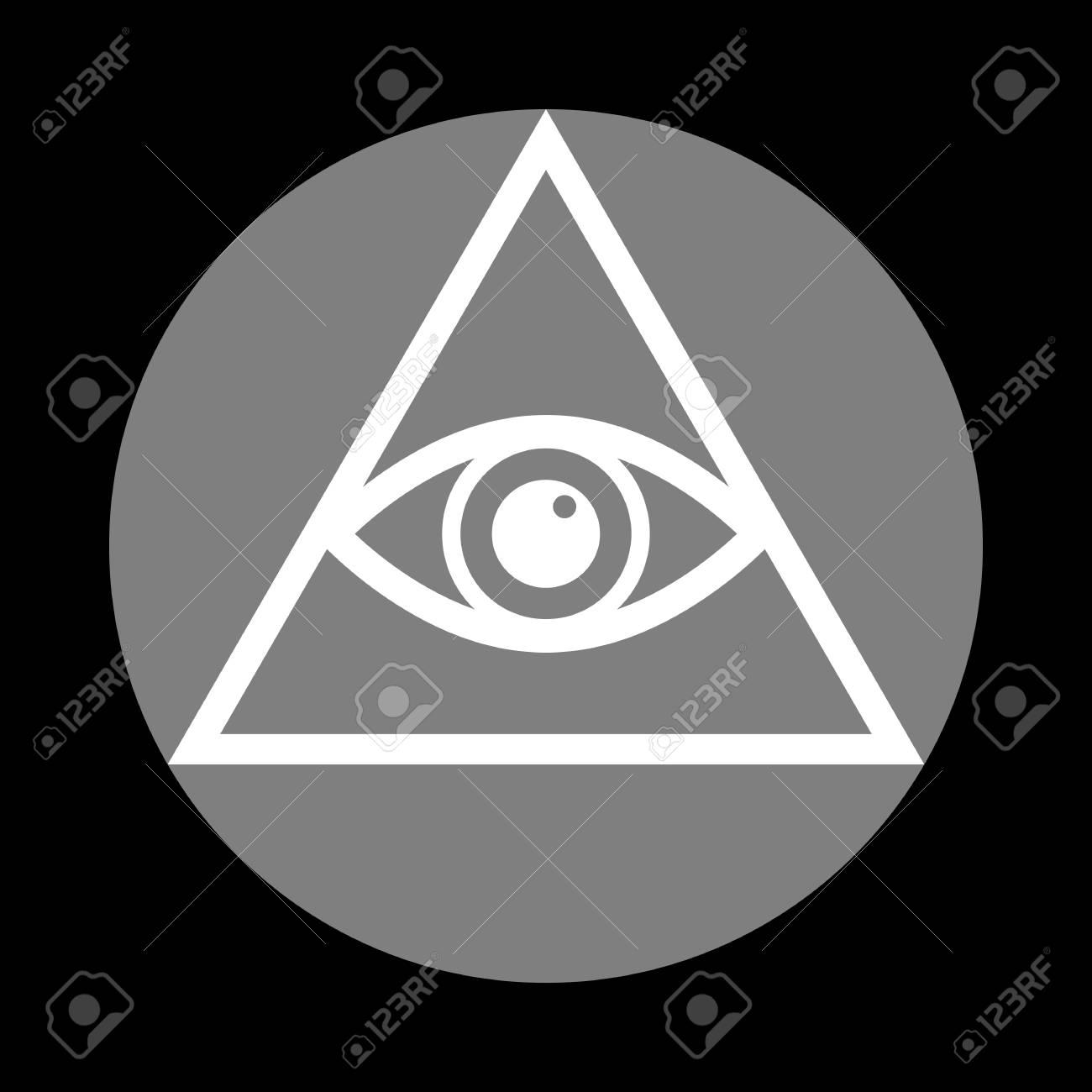 All Seeing Eye Pyramid Symbol Freemason And Spiritual White Icon In Gray Circle At