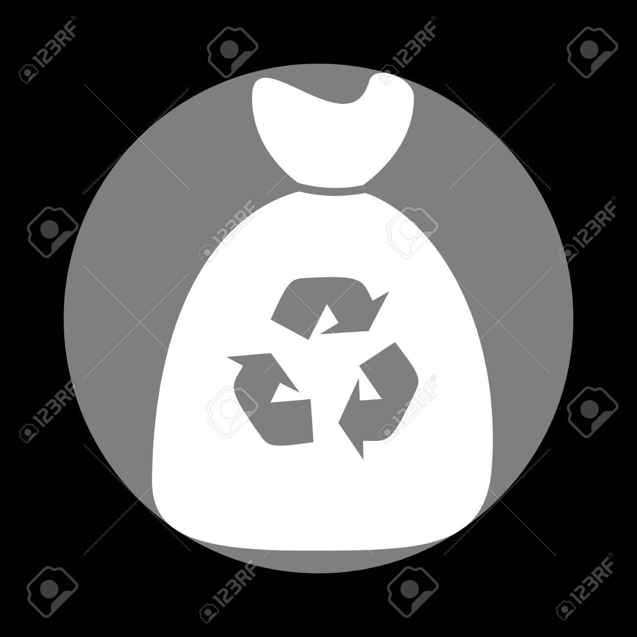 Icône de sac poubelle. Icône blanche dans un cercle gris sur fond noir. Cercle circonscrit. Circoncercle.