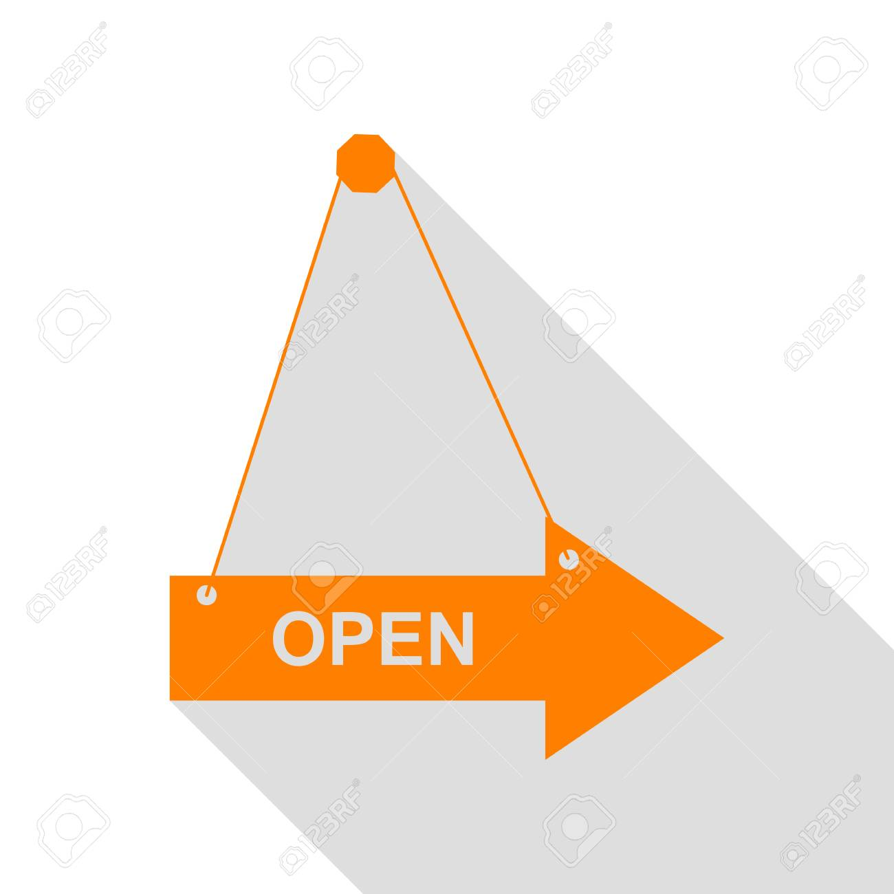 Open Sign Illustration. Orange Icon With Flat Style Shadow Path ...