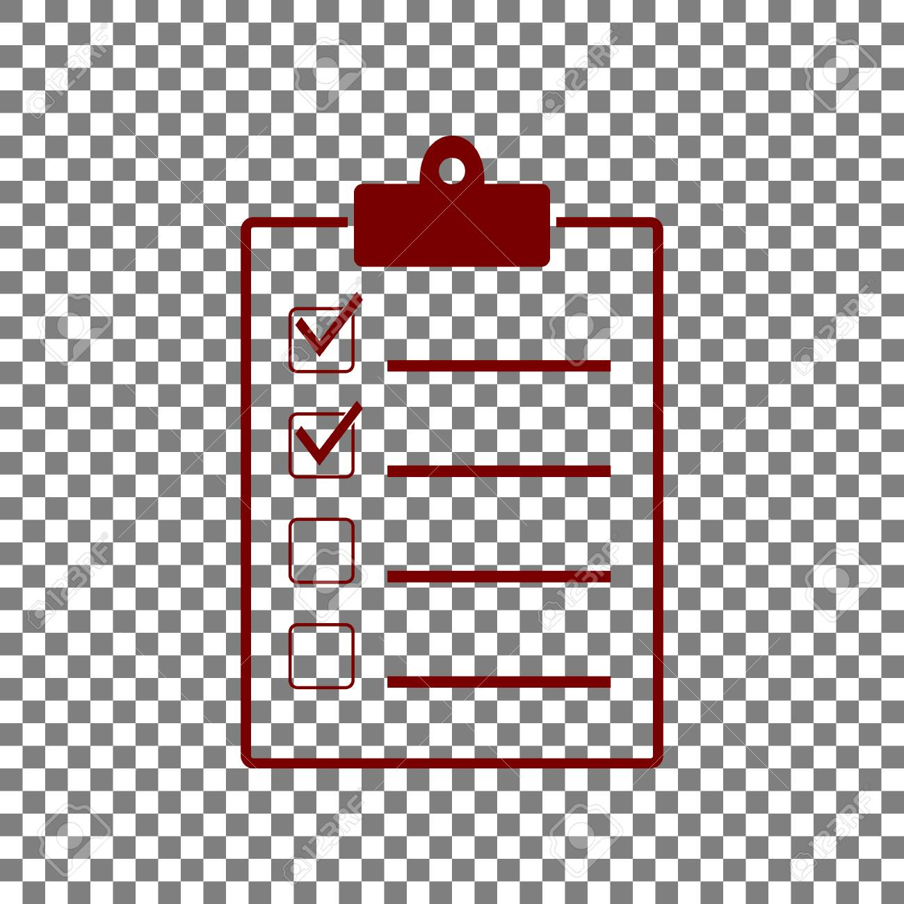 checklist sign illustration. maroon icon on transparent background