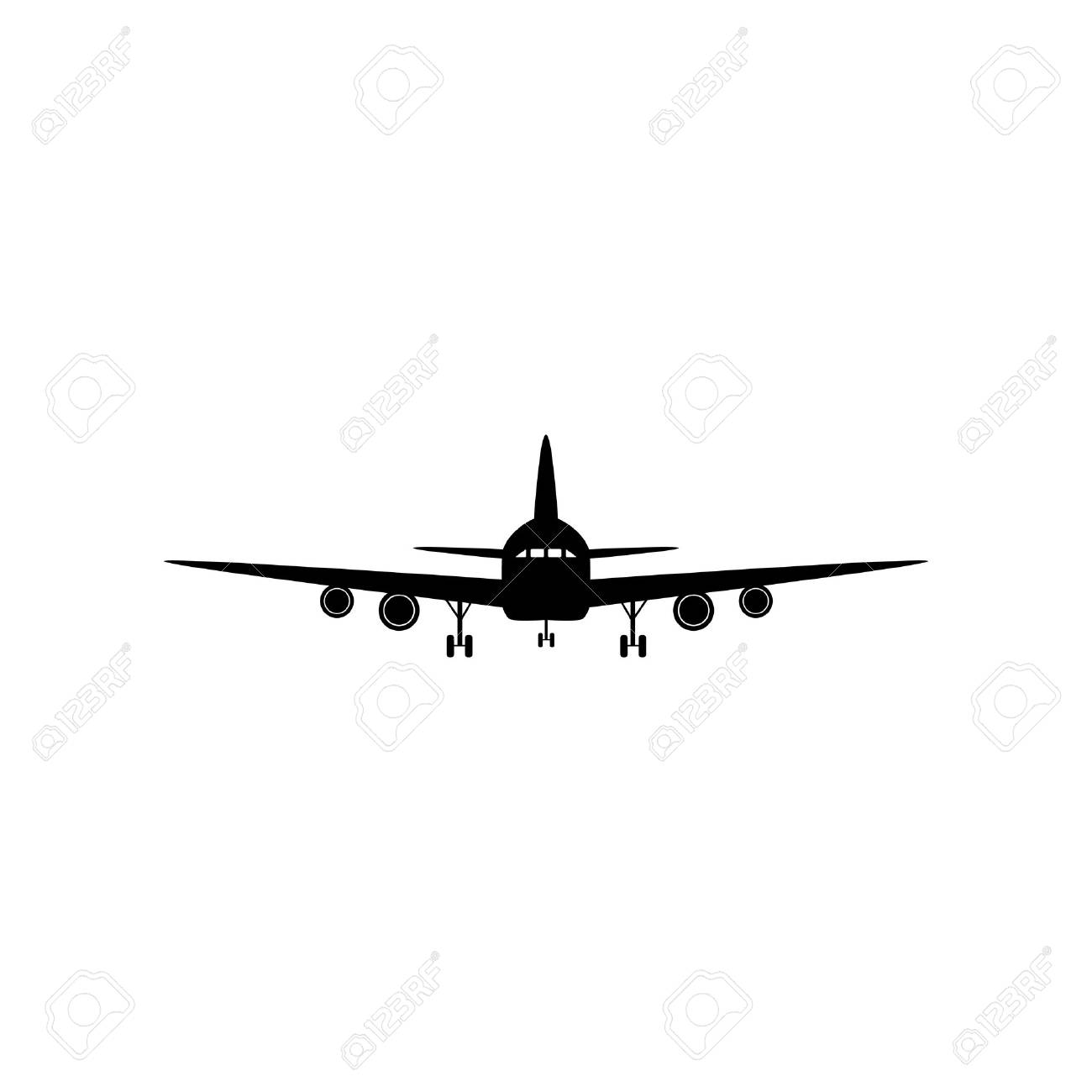Flying Plane Sign Front View Flat Style Black Icon On White