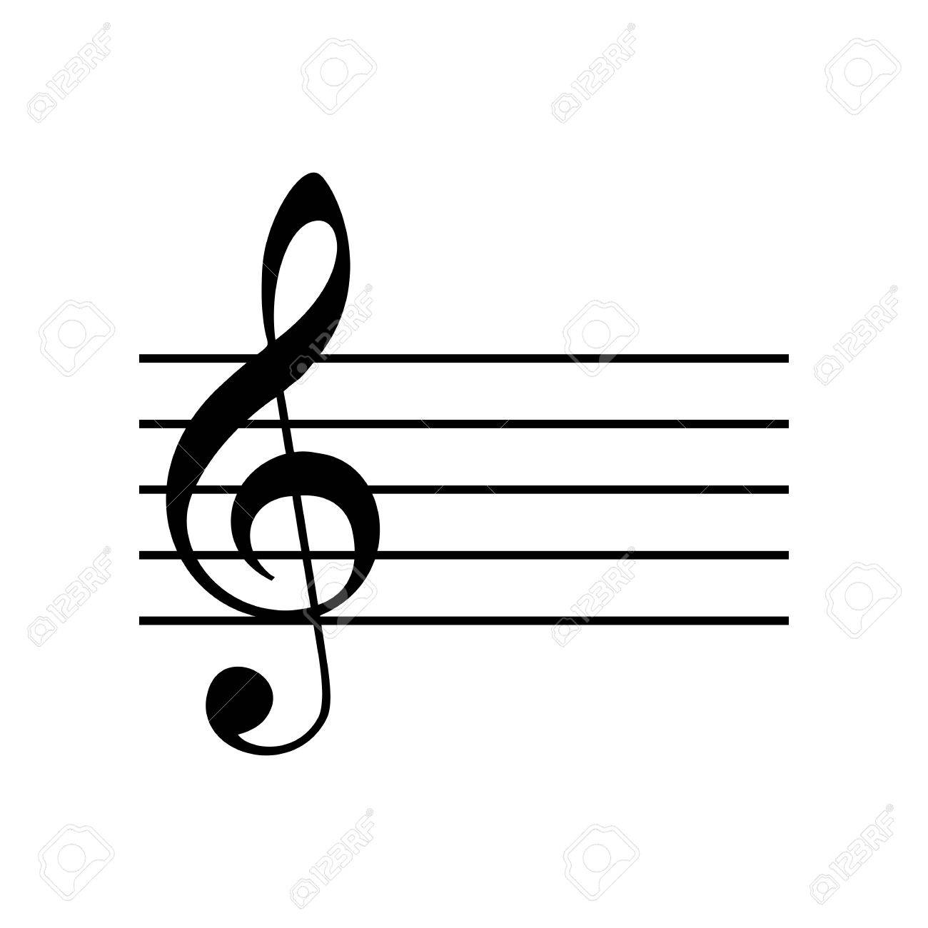 Music violin clef sign  G-clef  Flat style black icon on white