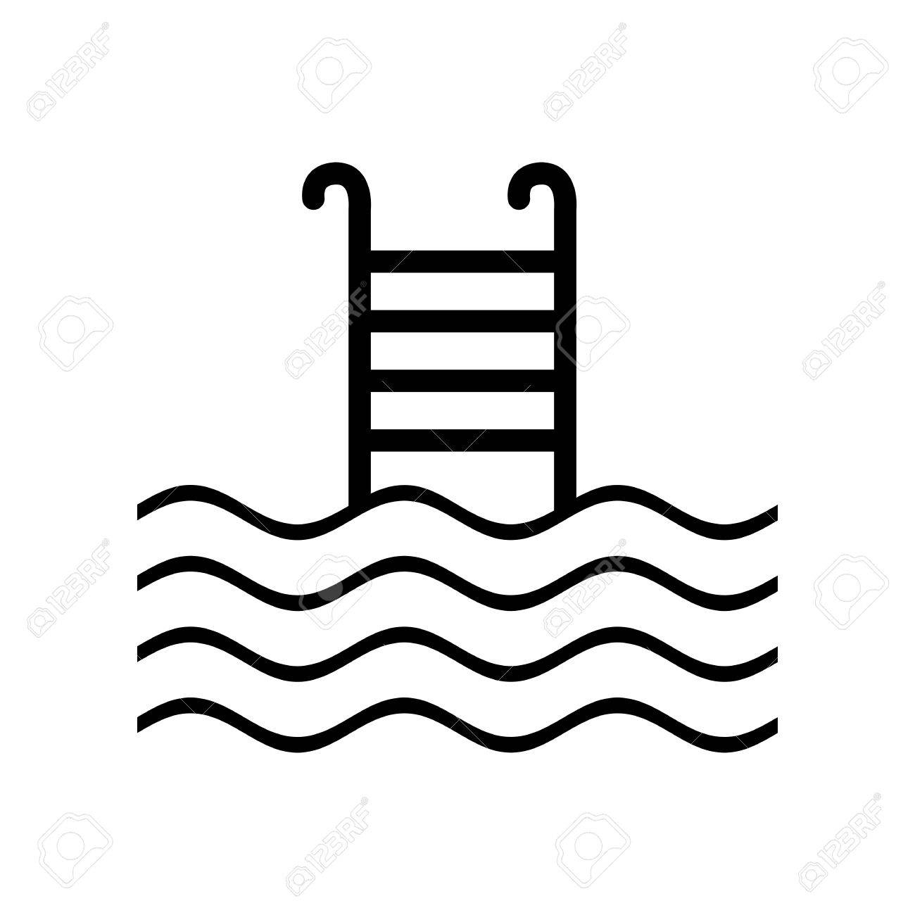 Swimming Pool Sign Flat Style Black Icon On White Stock Vector
