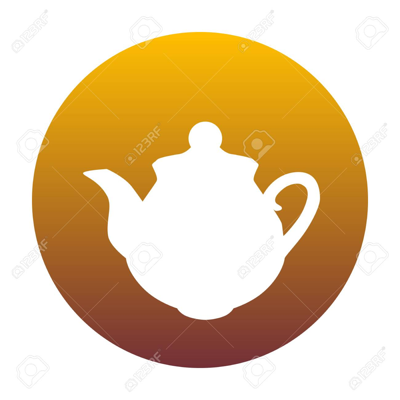 Tea maker sign  White icon in circle with golden gradient as