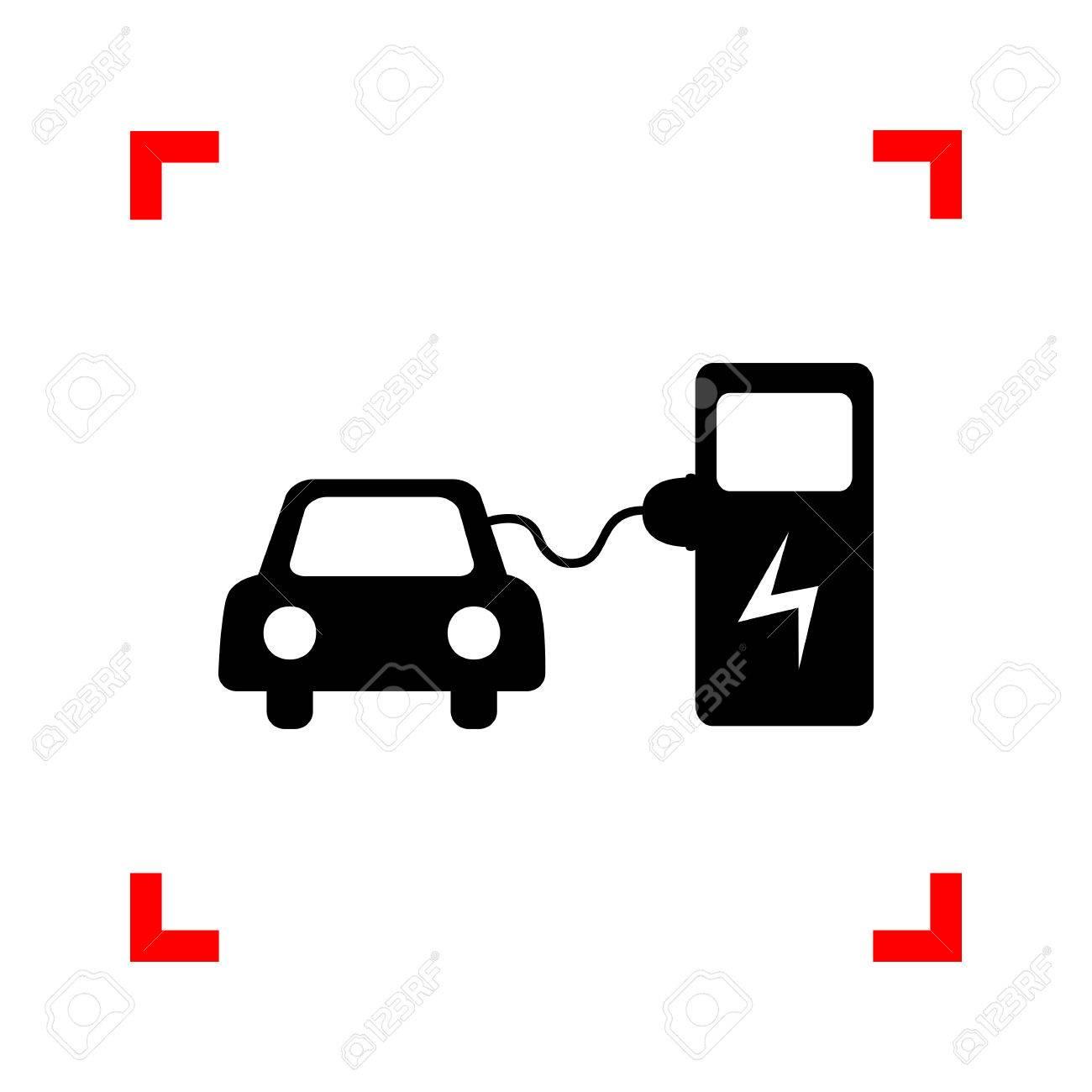 Opladen Van Elektrische Auto Accu S Zwart Icoon In Focus Hoeken Op