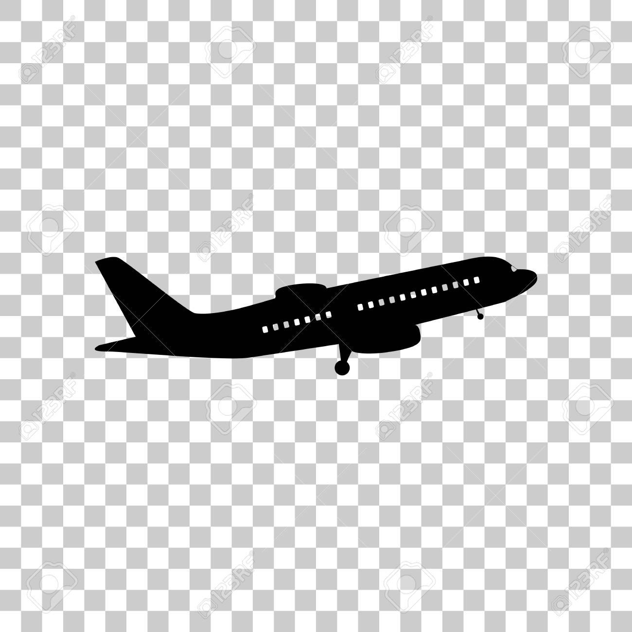 Flying Plane Sign Side View Black Icon On Transparent Backgrou