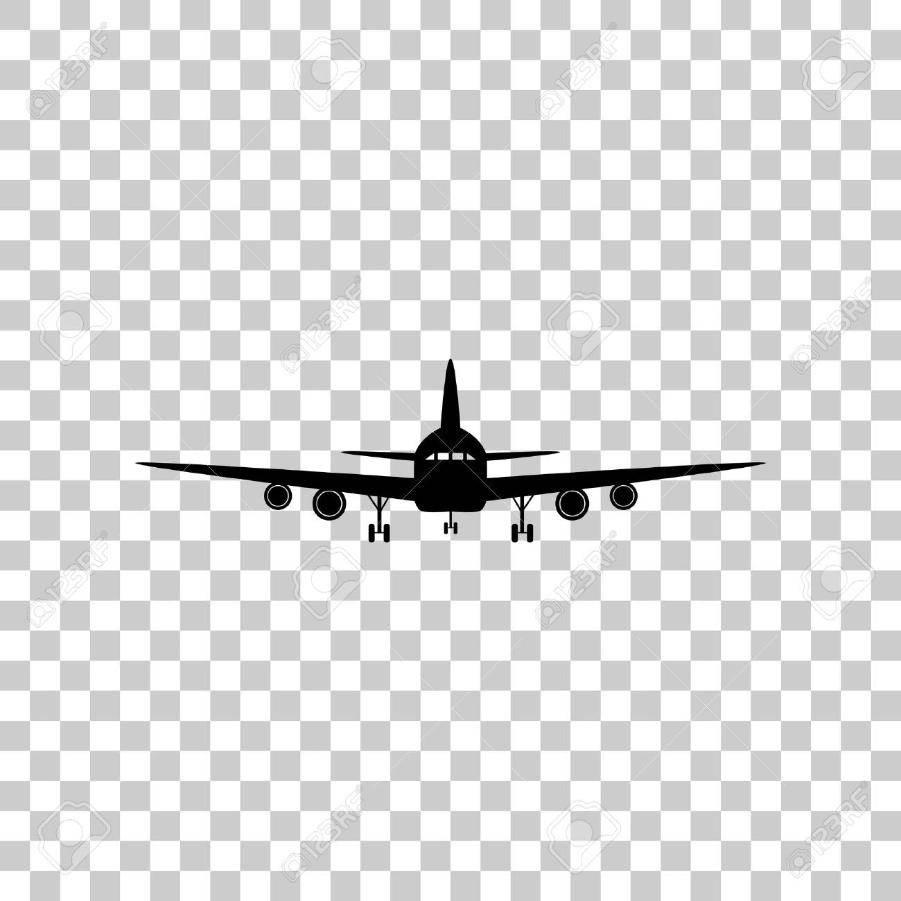 Flying Plane Sign Front View Black Icon On Transparent Backgro