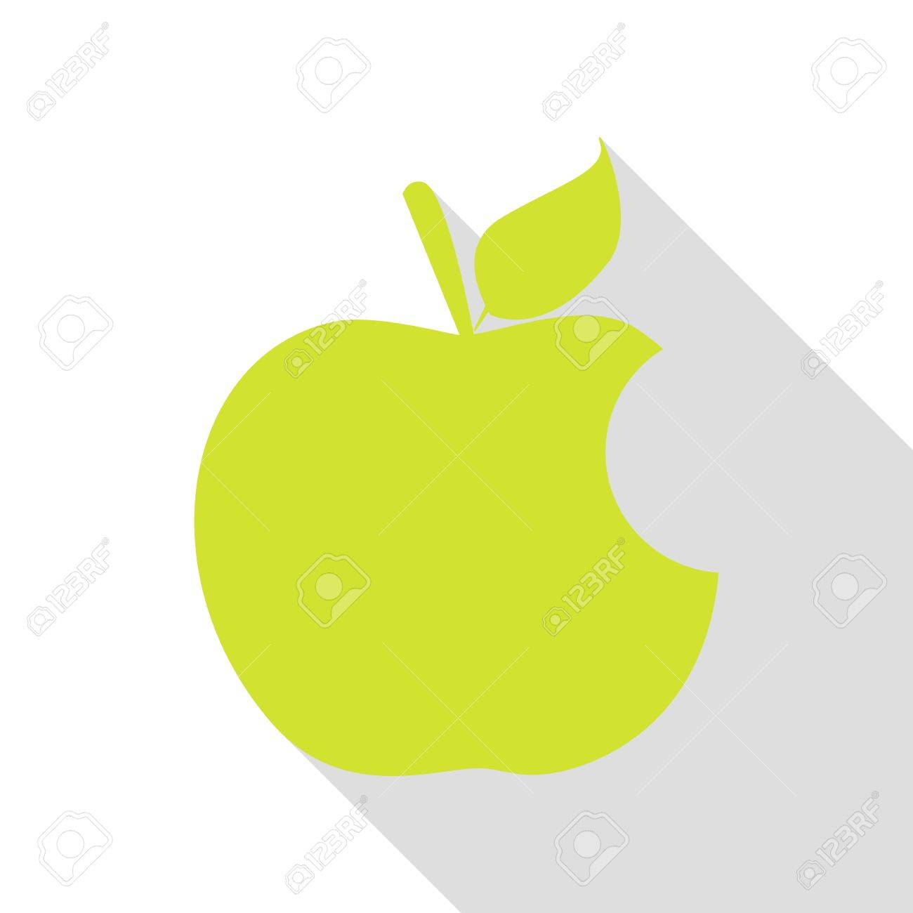 bite apple sign. pear icon with flat style shadow path. stock photo