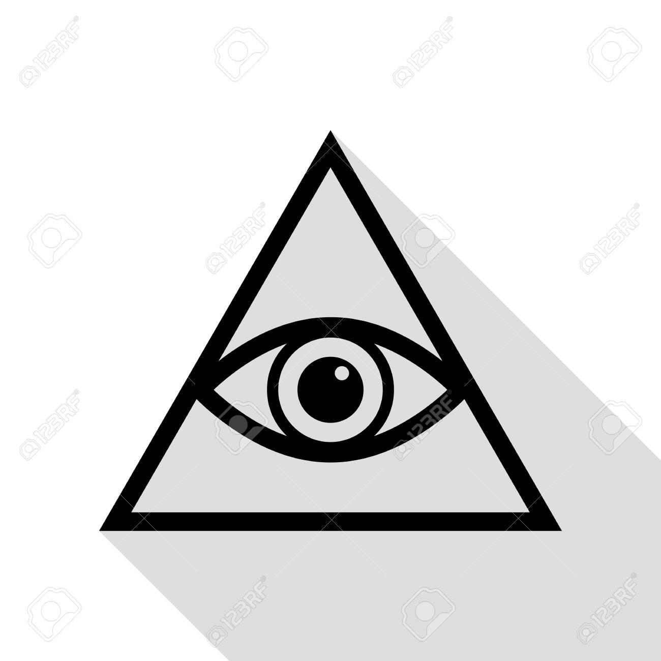 All Seeing Eye Pyramid Symbol Freemason And Spiritual Black Icon With Flat Style Shadow