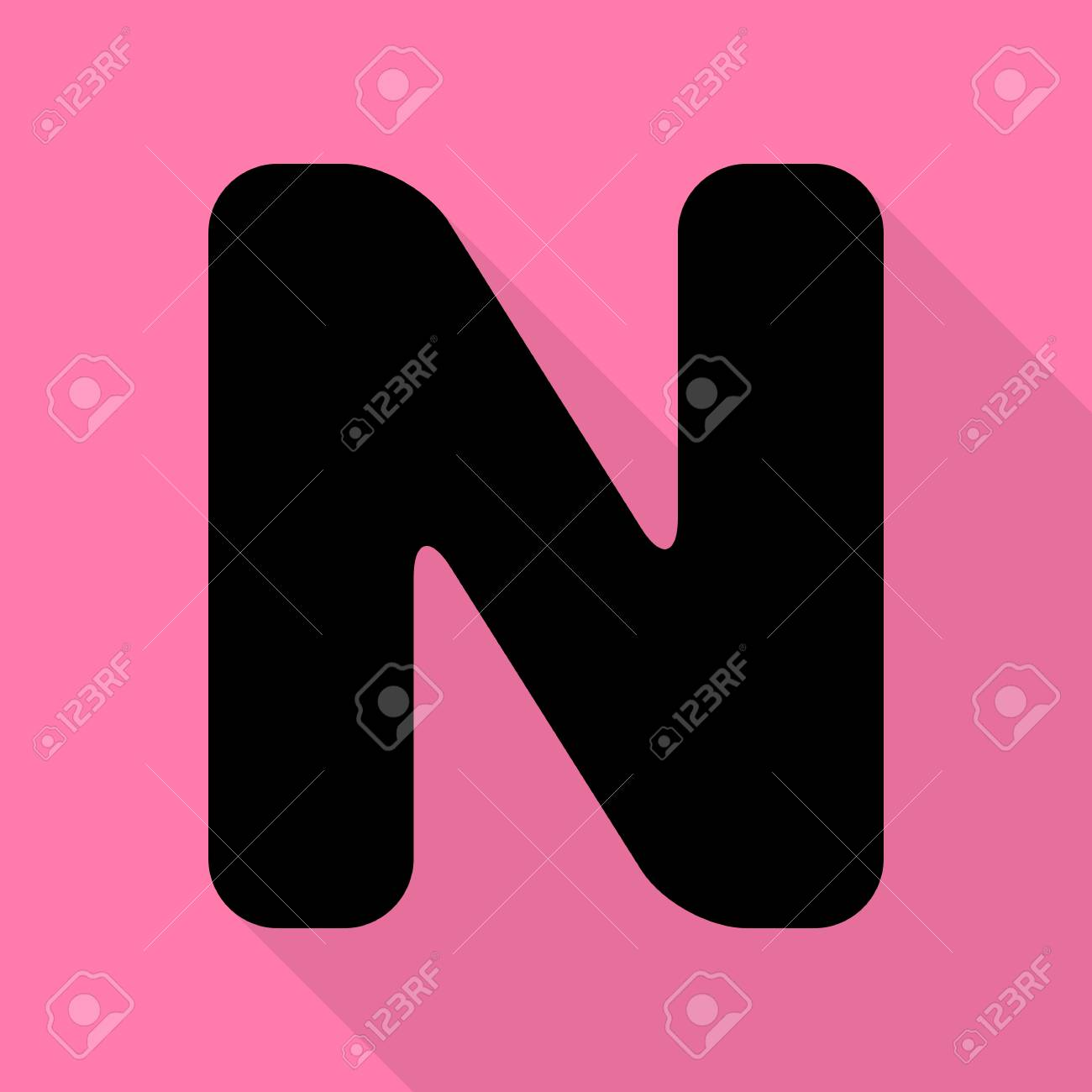 letter n sign design template element black icon with flat style shadow path on pink