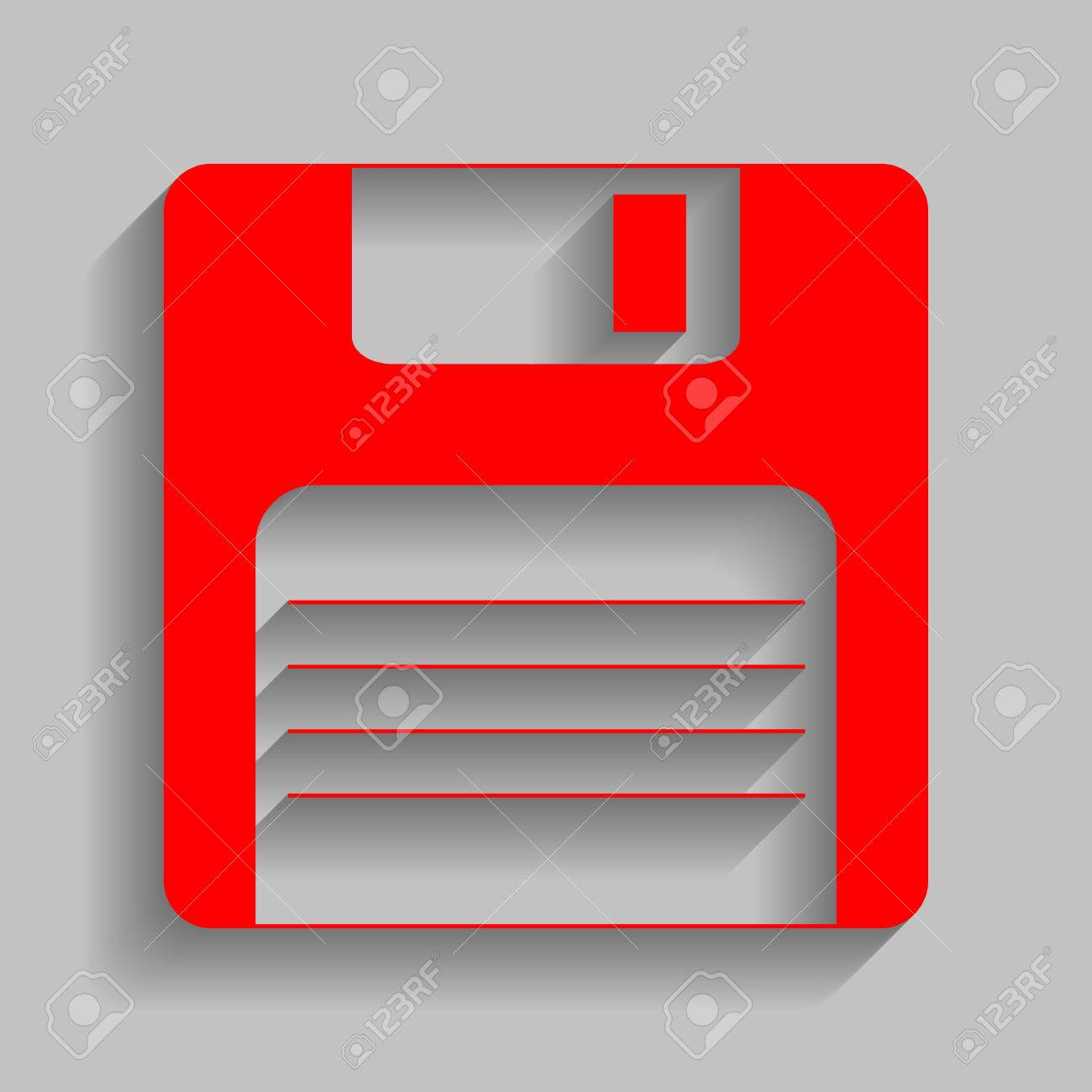 Floppy disk sign. Vector. Red icon with soft shadow on gray background. - 72525406