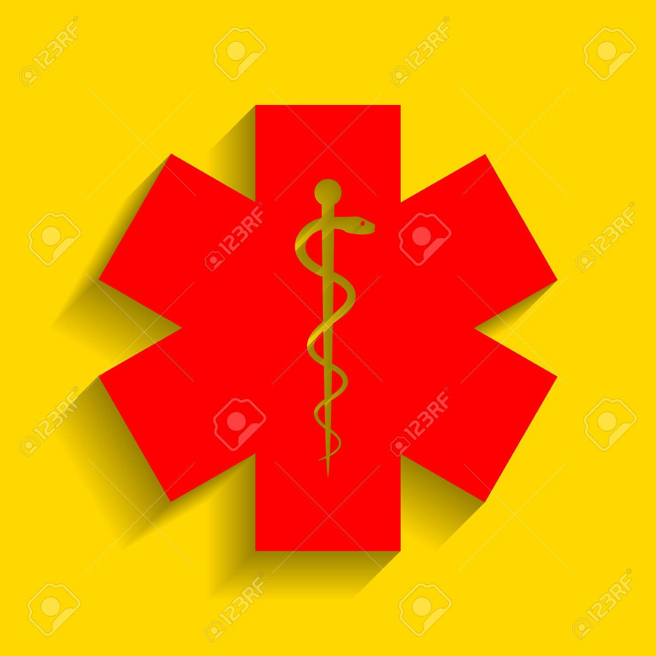 Medical Symbol Of The Emergency Or Star Of Life Vector Red