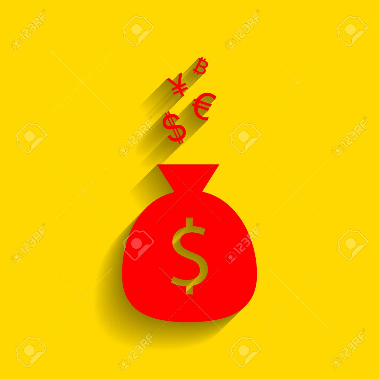 Money Bag Sign With Currency Symbols Vector Red Icon With Soft