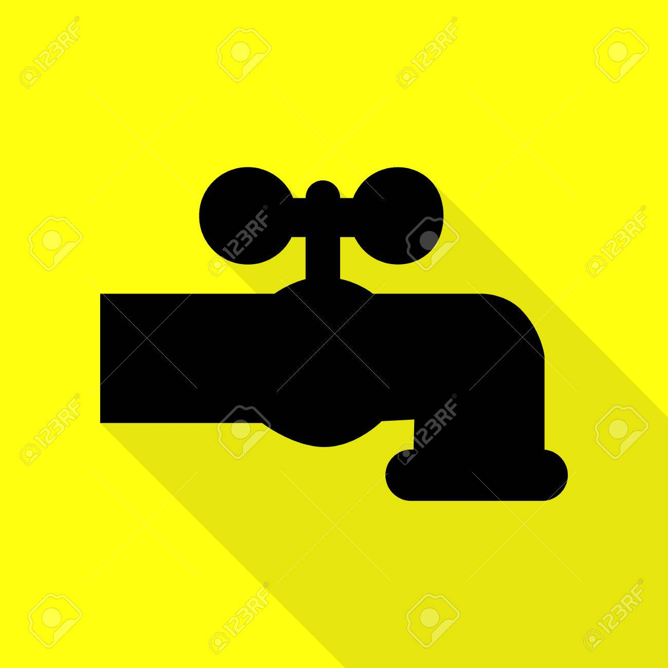Water Faucet Sign Illustration. Black Icon With Flat Style Shadow ...