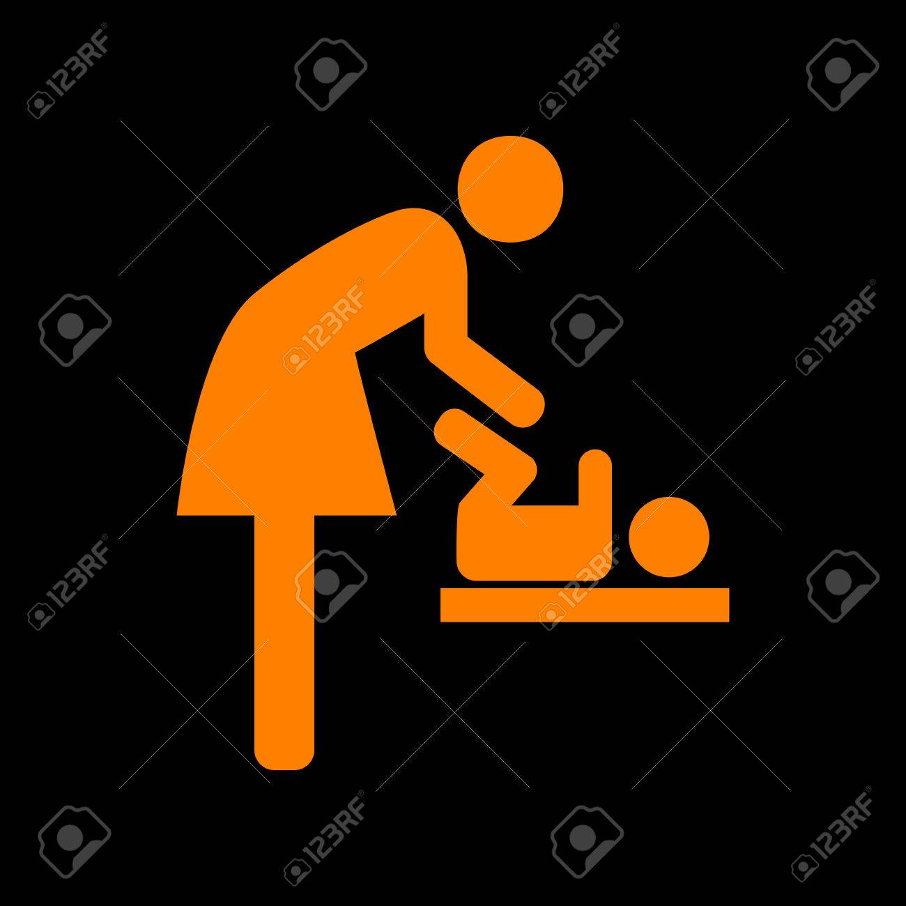 Symbol for women and baby baby changing orange icon on black symbol for women and baby baby changing orange icon on black background old biocorpaavc Gallery