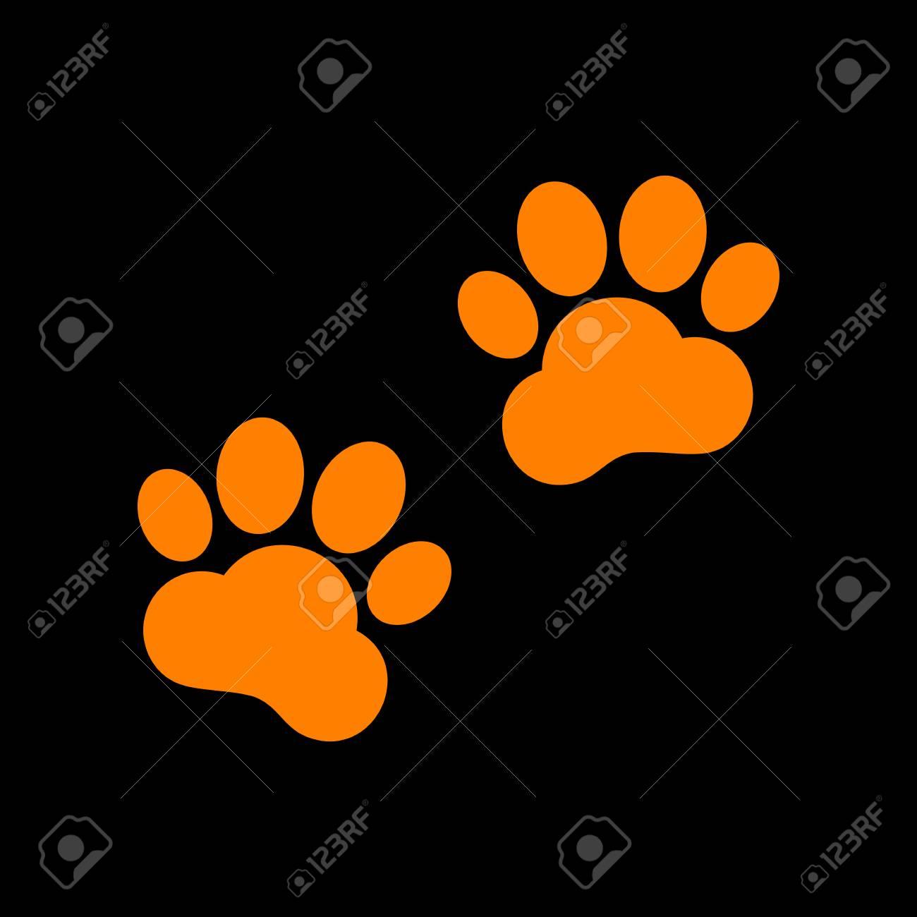 Animal Tracks sign. Orange icon on black background. Old phosphor monitor. CRT. - 73034978