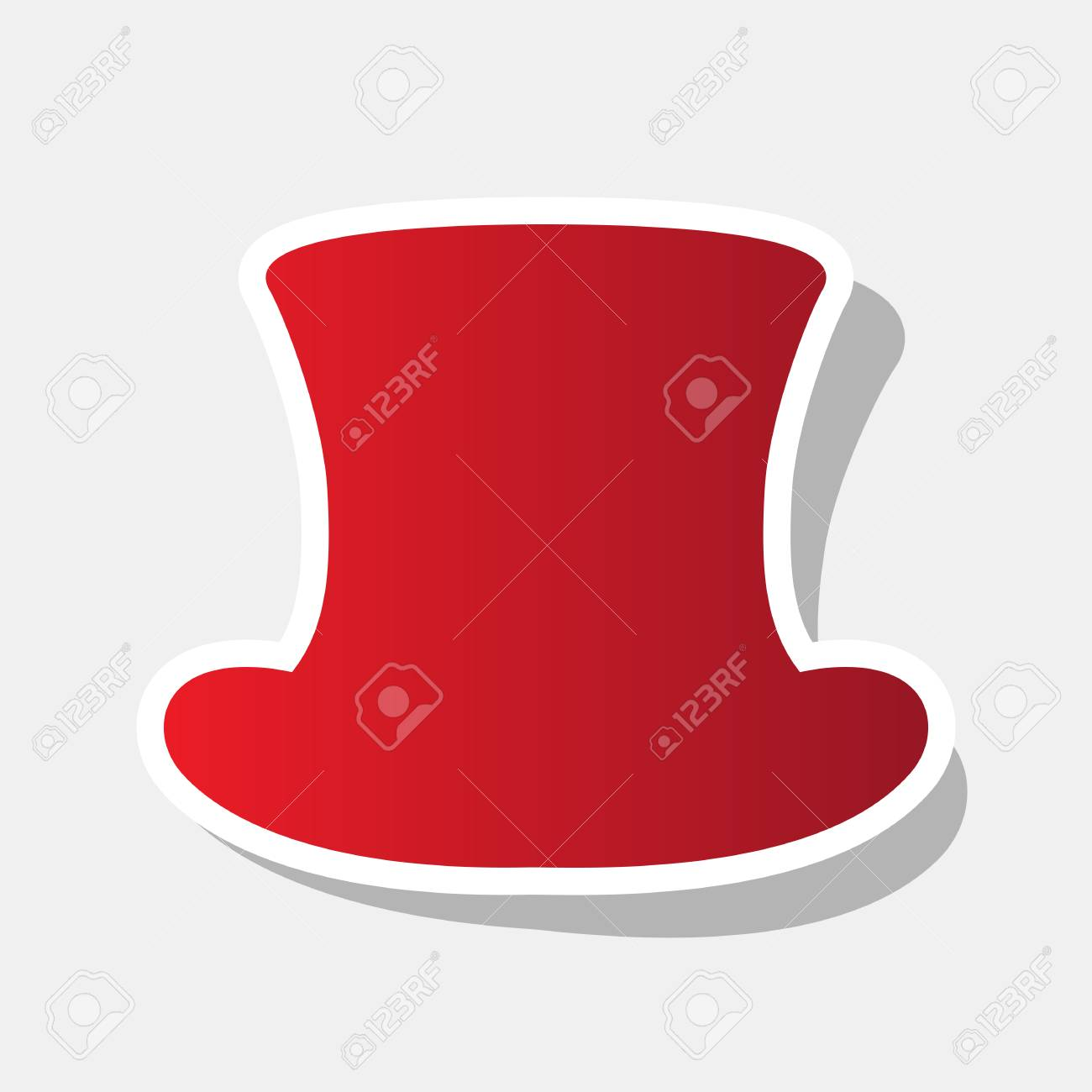 top hat sign vector new year reddish icon with outside stroke and gray shadow
