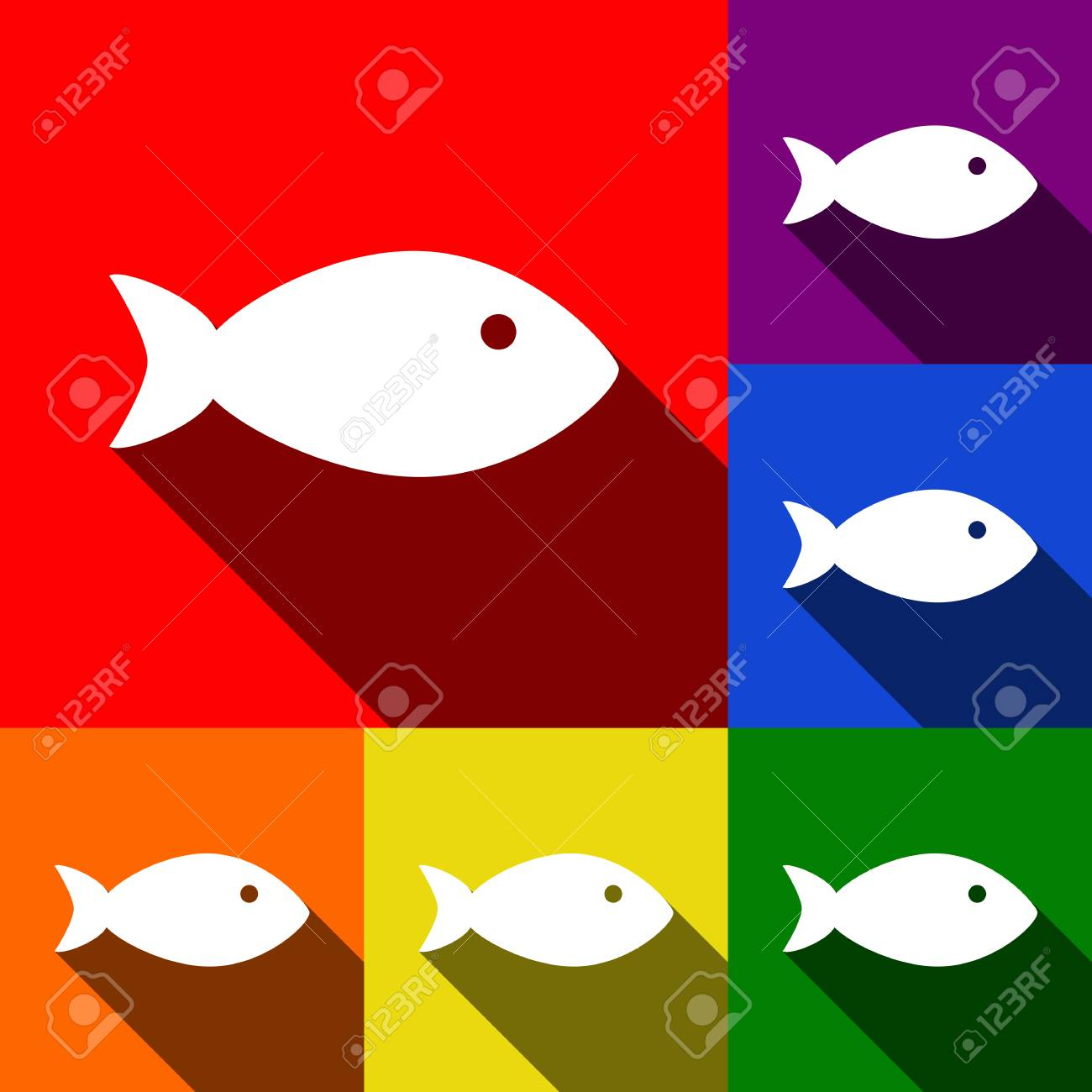 Fish Sign Illustration. Vector. Set Of Icons With Flat Shadows ...
