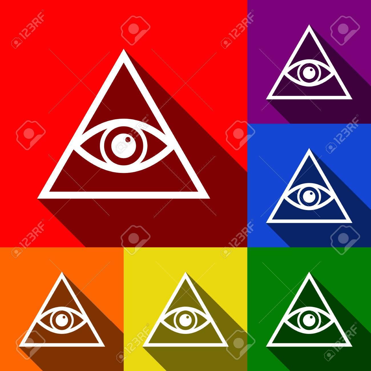 dcf4941e85cb2 Foto de archivo - Todo el símbolo de la pirámide del ojo que ve. Francmasón  y espiritual. Vector. Conjunto de iconos con sombras planas en el fondo  rojo