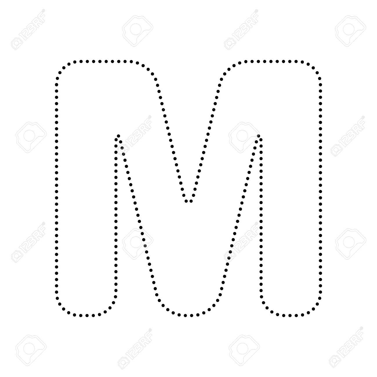 4343602fc500 Elemento de plantilla de diseño de letra M signo. Vector. Icono punteado  negro sobre