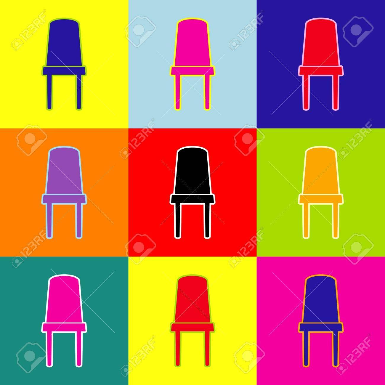 Panneau De Chaise Bureau Vecteur Pop Art Style Icnes Colores