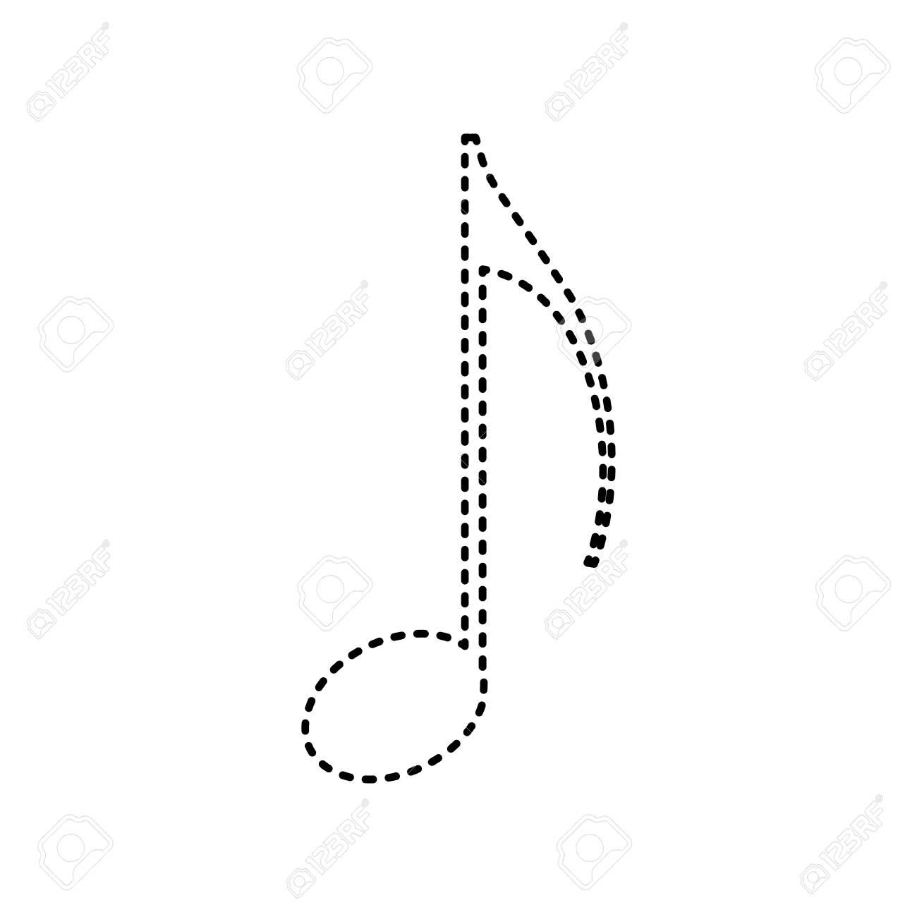 Signe De Note De Musique Vecteur Icône En Pointillé Noir Sur Fond