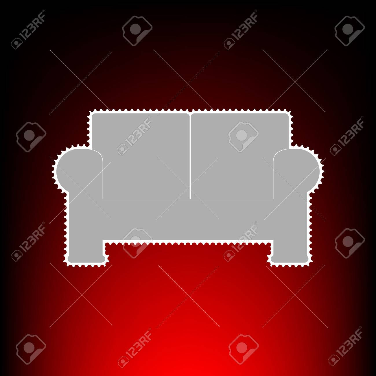 Sofa Sign Illustration Postage Stamp Or Old Photo Style On Red Black Gradient Background