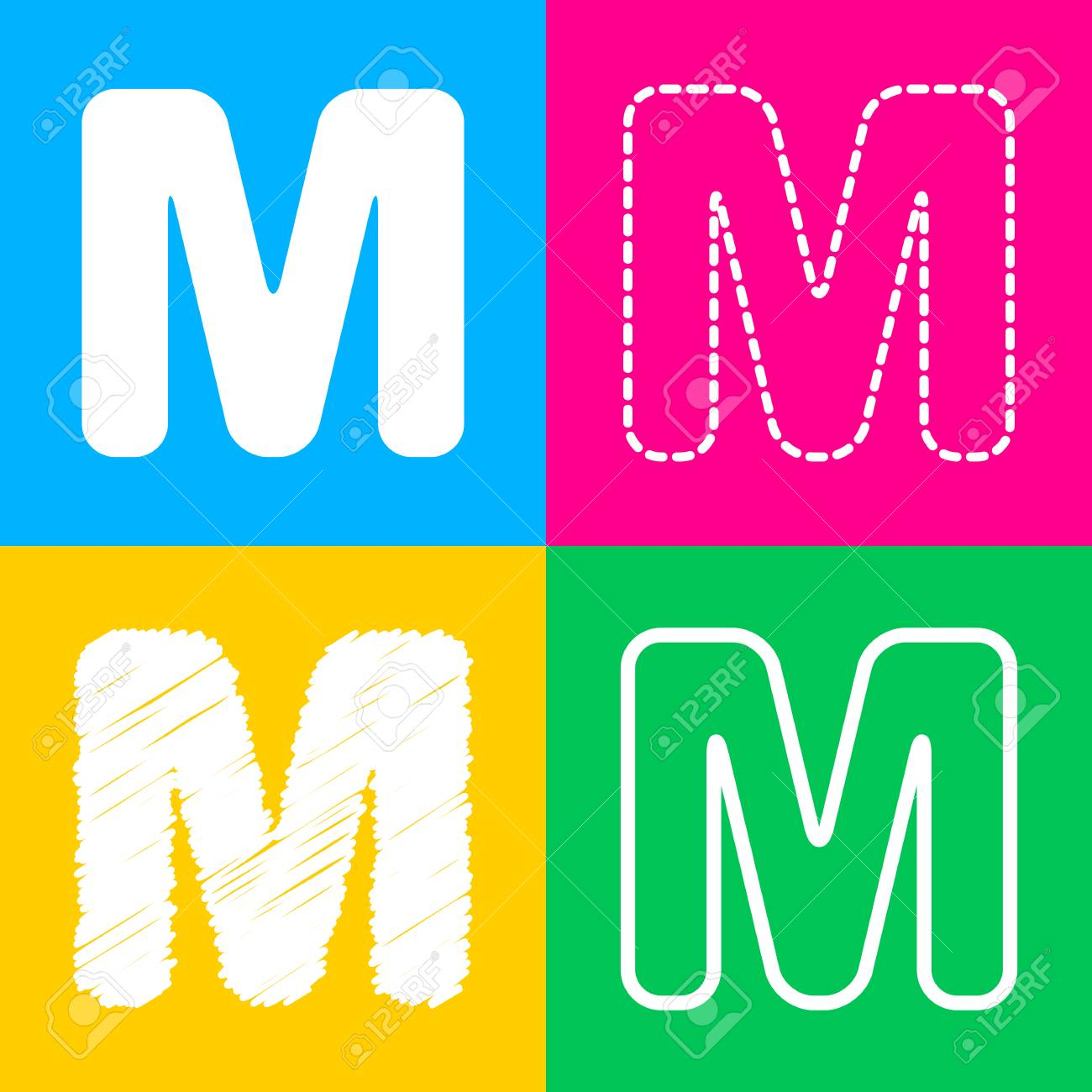 Letter M Sign Design Template Element Four Styles Of Icon On Color Squares
