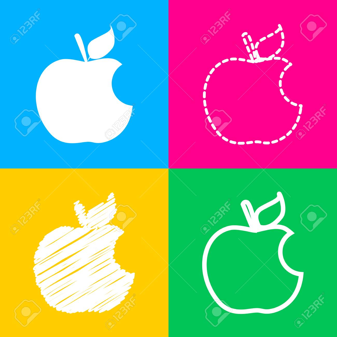 bite apple sign. four styles of icon on four color squares. royalty