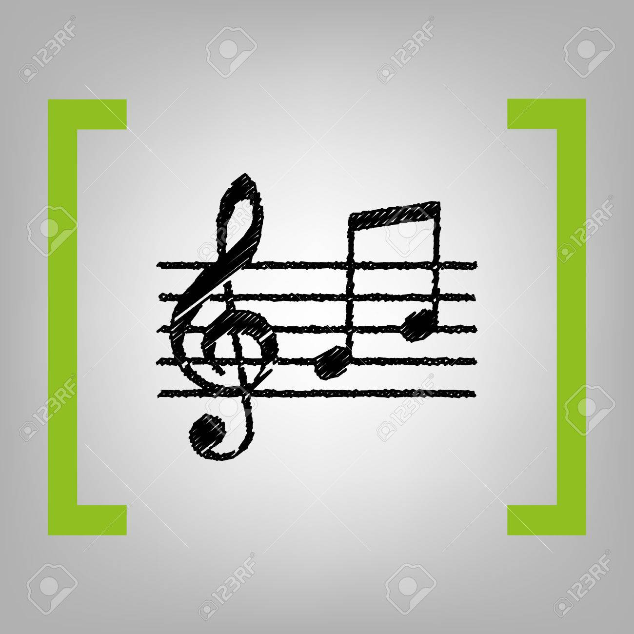 music violin clef sign g clef and notes g h vector black