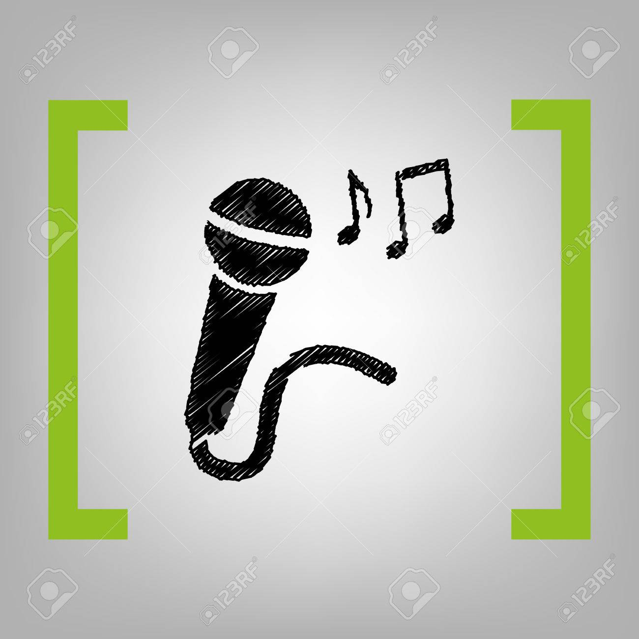 microphone sign with music notes vector black scribble icon