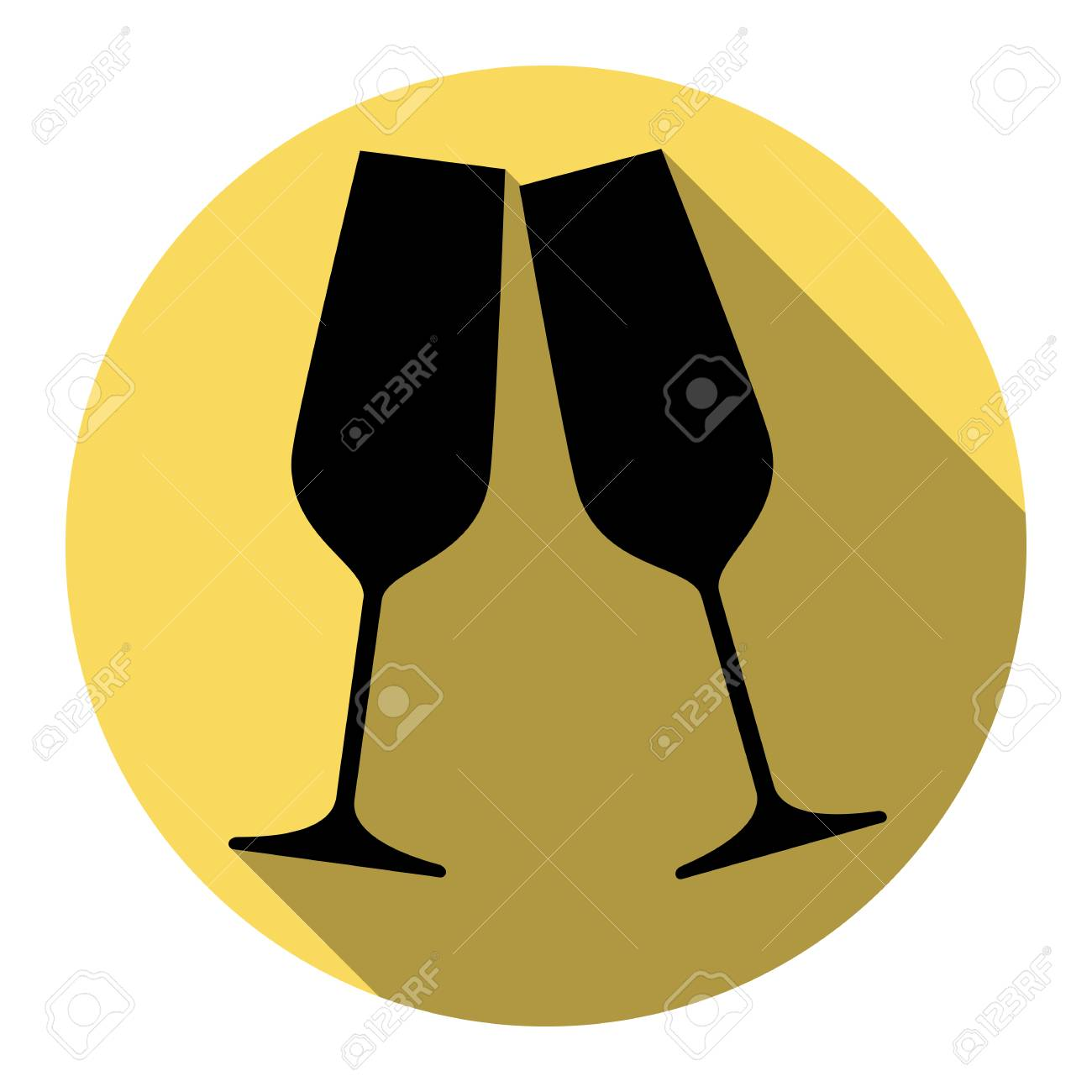 b98f2d294a Sparkling champagne glasses. Vector. Flat black icon with flat shadow on royal  yellow circle