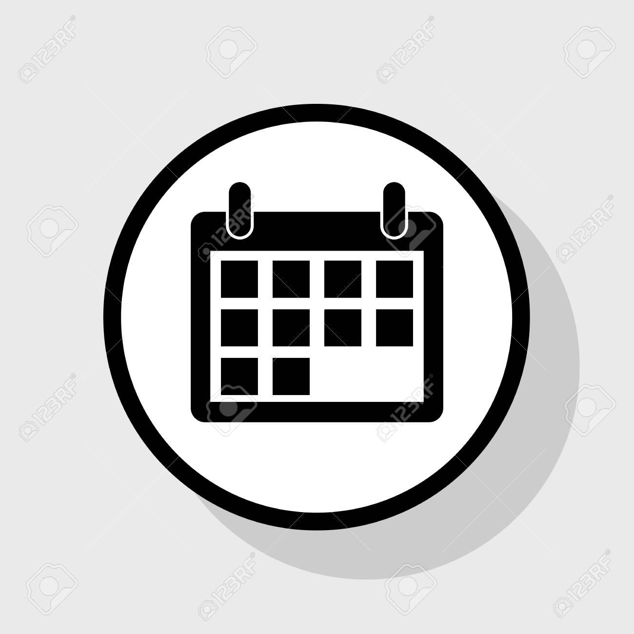 Calendario Vector Blanco.Ilustracion De Signo De Calendario Vector Icono Negro Plano En Circulo Blanco Con Sombra En El Fondo Gris