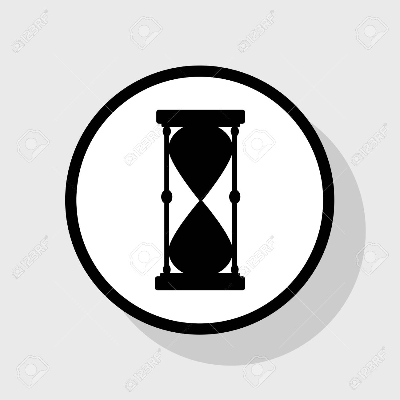 Ilustración De Signo De Reloj De Arena Vector Icono Negro Plano En