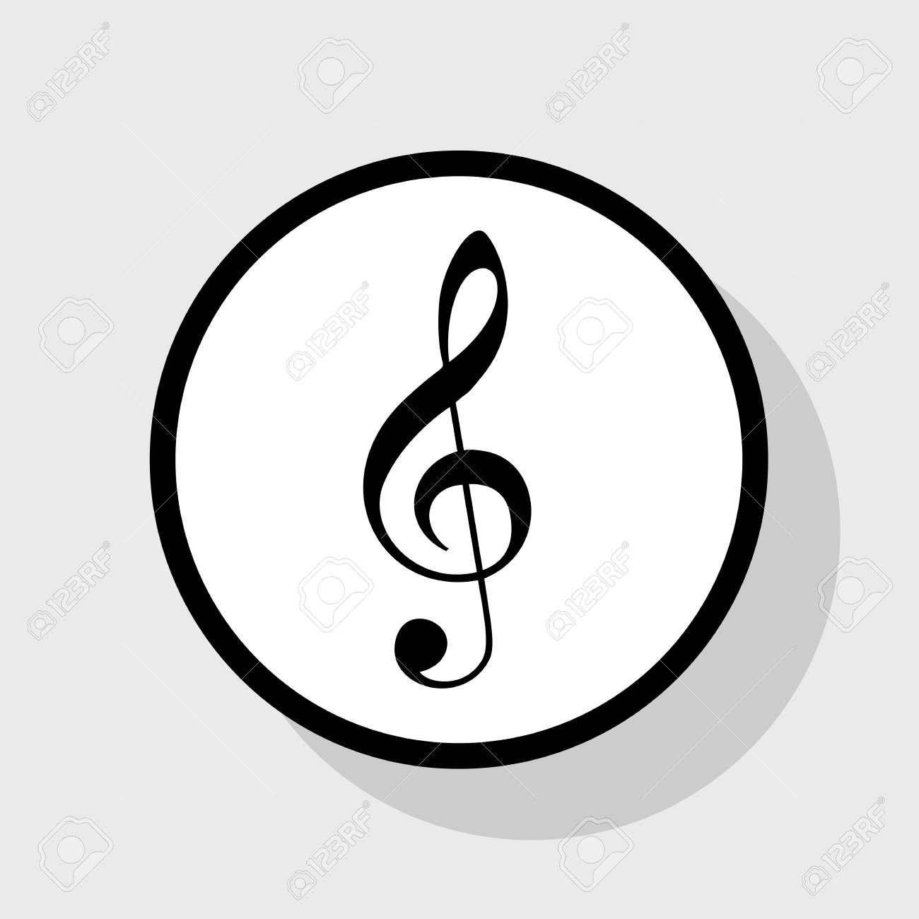 Music violin clef sign  G-clef  Treble clef  Vector  Flat black