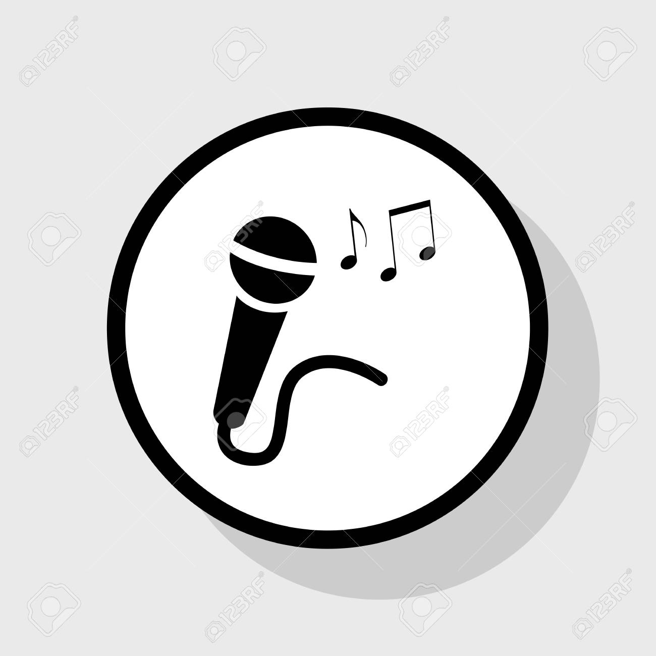 Microphone Sign With Music Notes Vector Flat Black Icon In