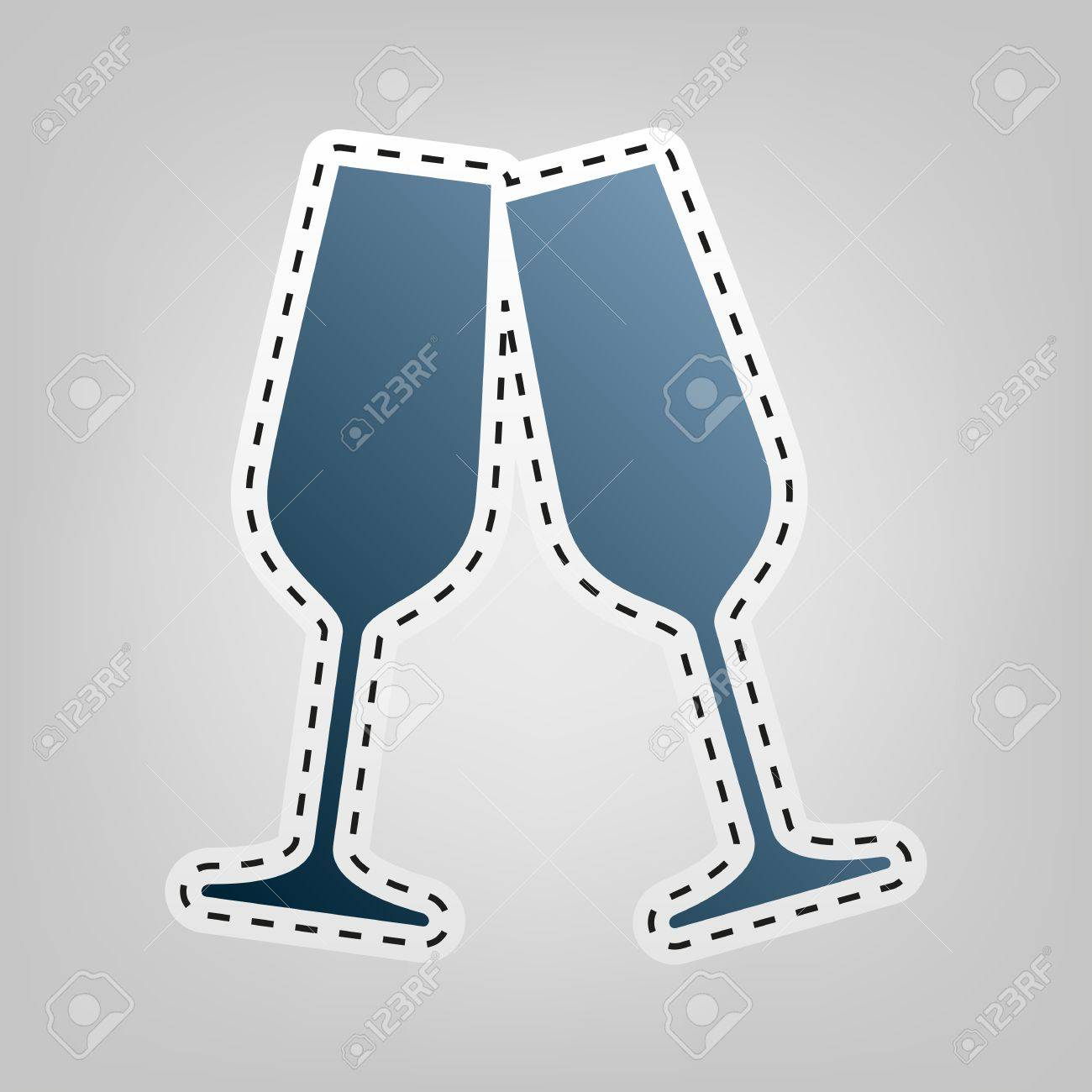 cf0770c0a8 Sparkling champagne glasses. Vector. Blue icon with outline for cutting out  at gray background