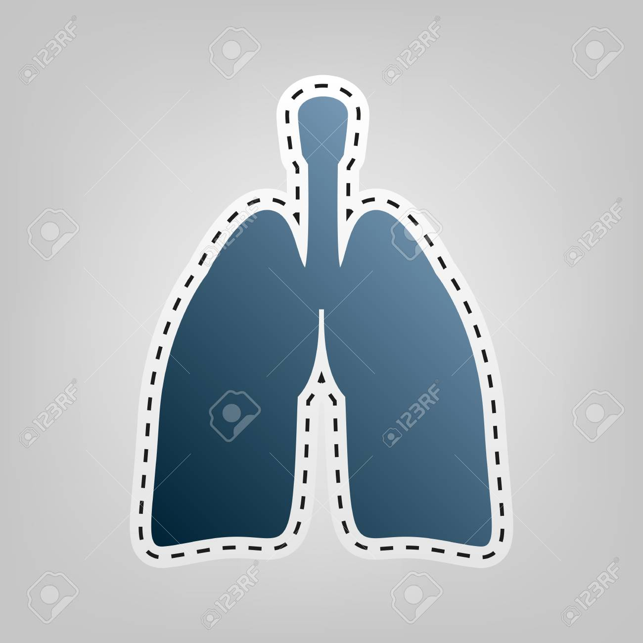Anatomía Humana. Signo De Los Pulmones Vector. Icono Azul Con El ...