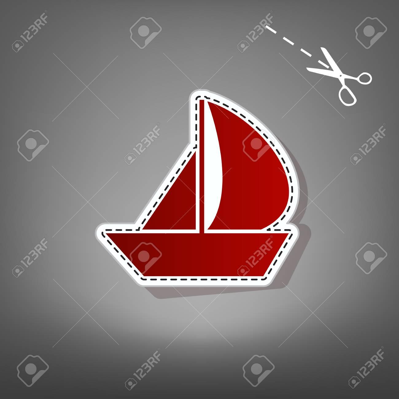 Segelboot applikation  Segelboot Zeichen. Vektor. Rote Ikone Mit Für Applikation Vom Papier ...