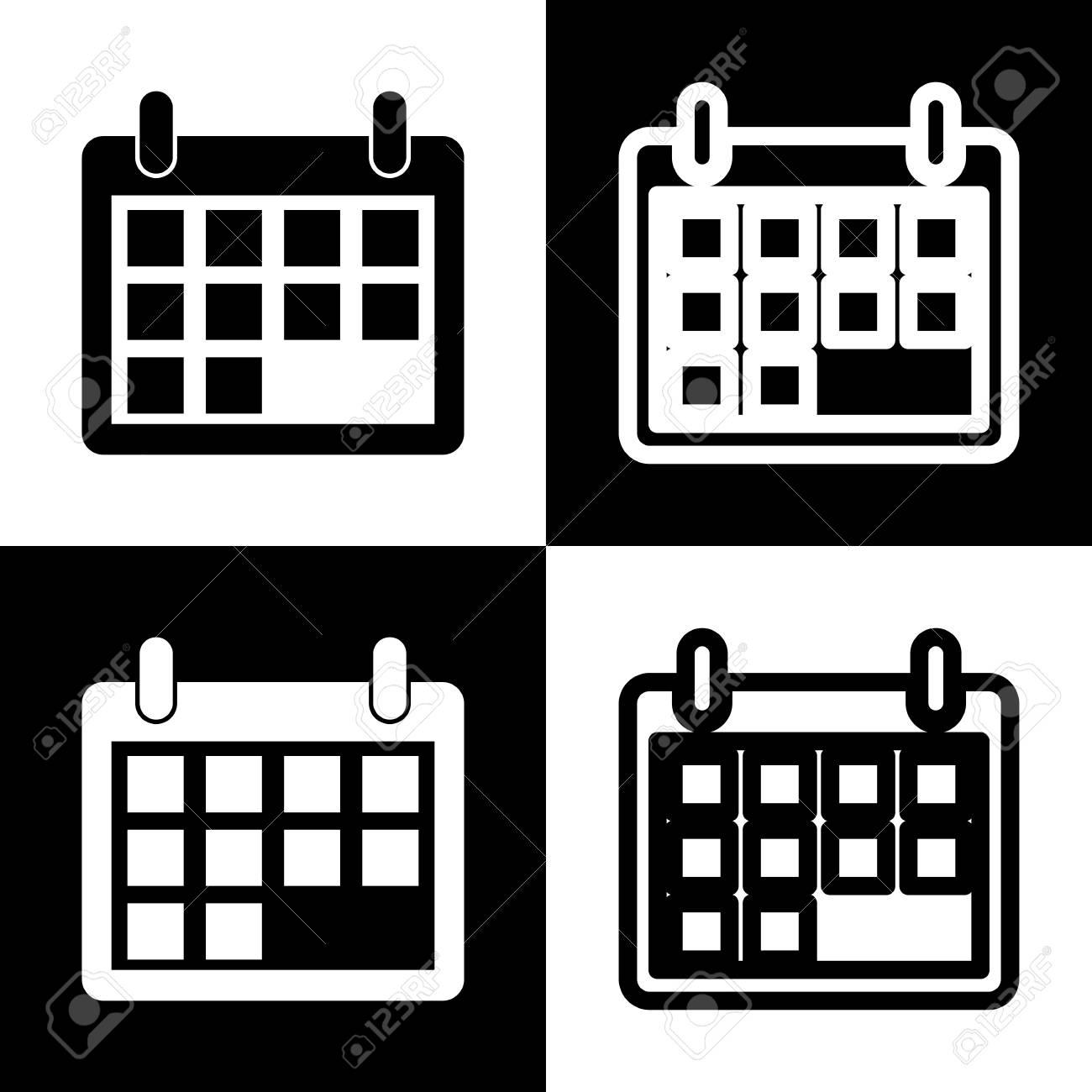 Calendario Vector Blanco.Calendar Sign Illustration Vector Black And White Icons And