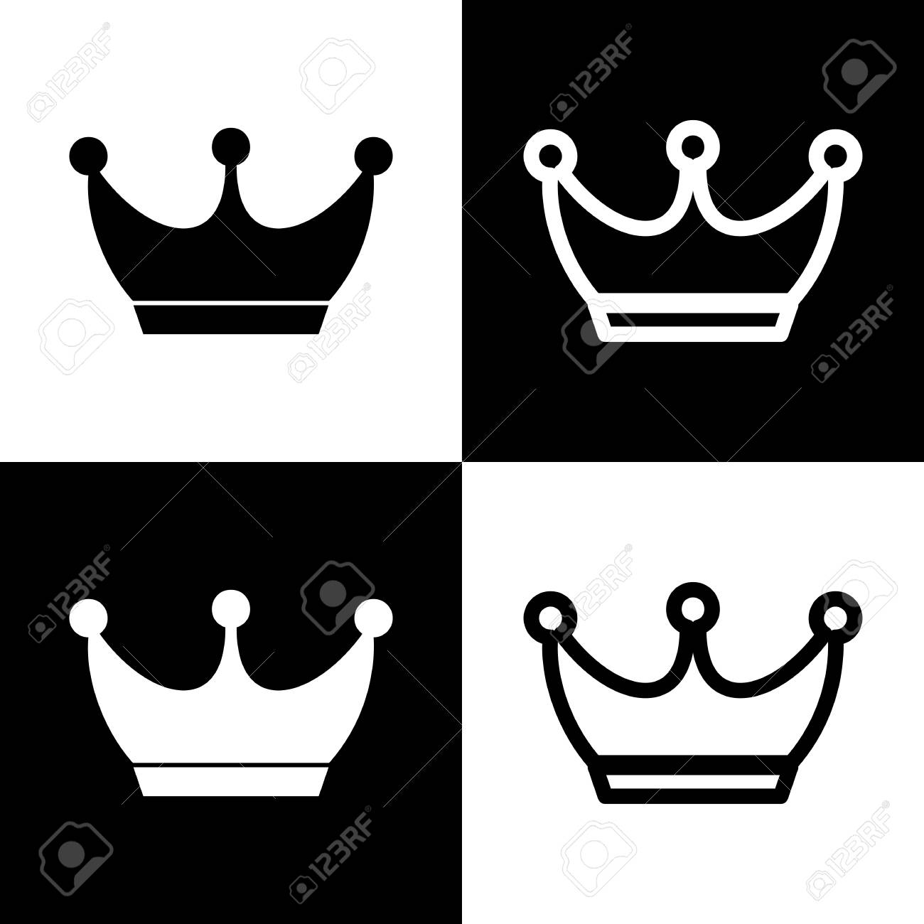 King Crown Sign Vector Black And White Icons And Line Icon Stock