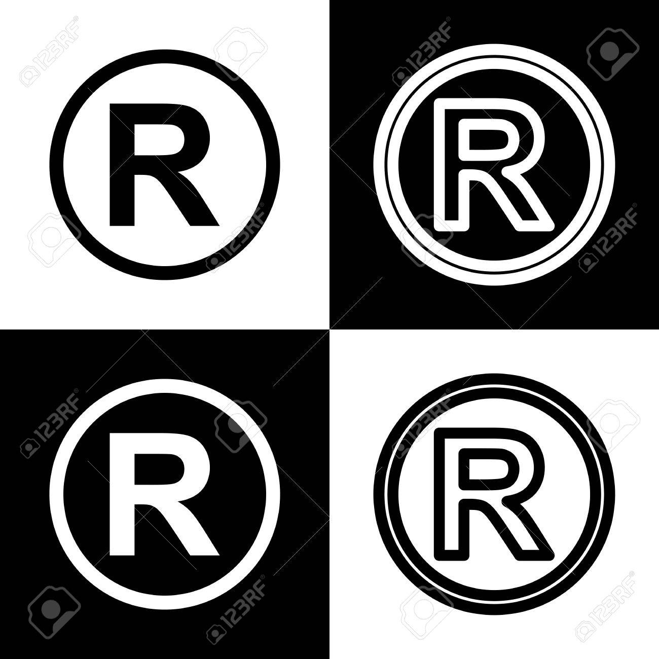 Registered Trademark Sign Vector Black And White Icons And