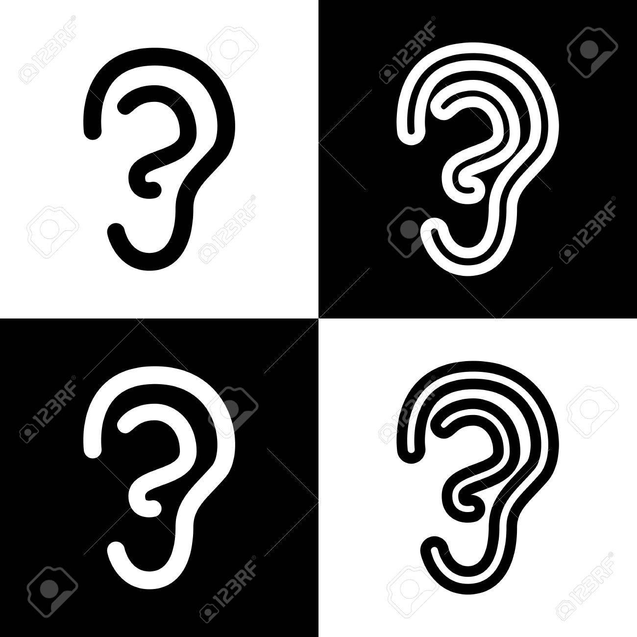 Anatomía Humana. Señal De Oído Vector. Iconos De Blanco Y Negro Y El ...